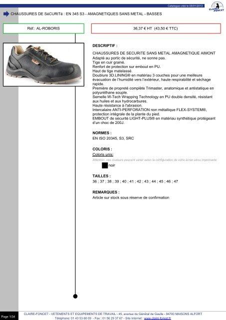 Chaussures Chaussures De Chaussures De De Claire Claire Foncet Claire Sécurité Sécurité Sécurité Foncet doxBCe