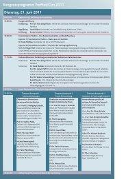 Dienstag, 21. Juni 2011 Kongressprogramm PerMediCon 2011