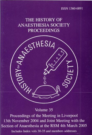 Volume 35 - History of Anaesthesia Society