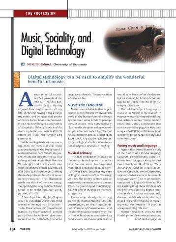 Music, Sociality, and Digital Technology - DoI