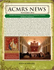 November 2012 WWW.ACMRS.ORG I - Arizona Center for Medieval ...