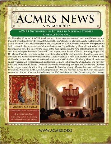 November 2012 WWW.ACMRS.ORG I - Arizona Center for Medieval ...