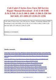Cub Cadet Z Series Zero Turn 360 Service Repair Manual Download