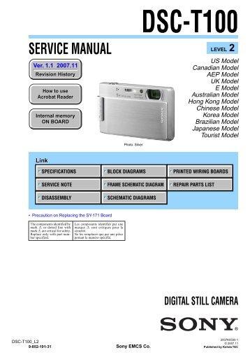 Service Manual of Sony DSC-T100 Digital Camera - SONYRUS