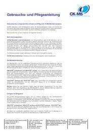 Gebrauchs- und Pflegeanleitung - CK-MS Medizintechnik & Service