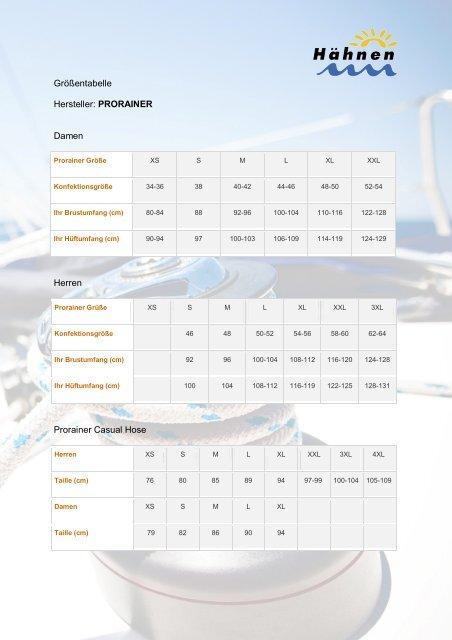 807f2dd0d2 Größentabelle Hersteller: PRORAINER Damen Herren Prorainer ...