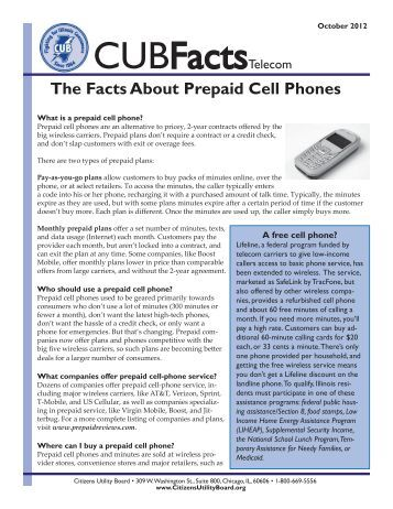 The Facts About Prepaid Cell Phones - Citizens Utility Board