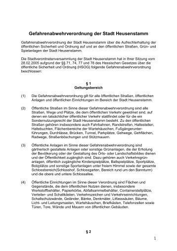 Gefahrenabwehrverordnung der Stadt Heusenstamm
