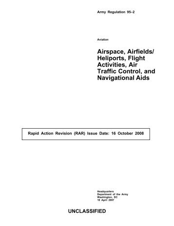 Airspace, Airfields/ Heliports, Flight Activities, Air Traffic Control, and ...