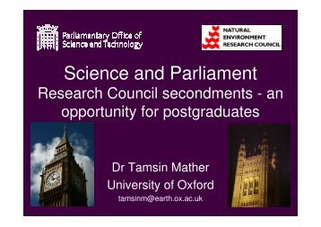 Science and Parliament - Department of Earth Sciences - University ...