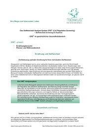 Das Stoffwechsel-Analyse-System CRS - Einsatz CRS-prevent