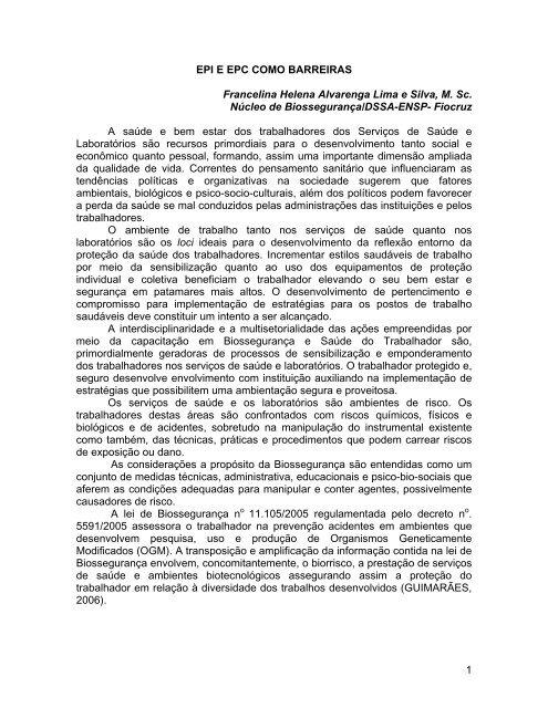 EPI E EPC COMO BARREIRAS - Fiocruz