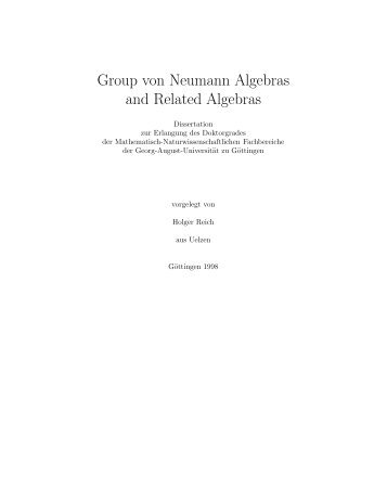Group von Neumann Algebras and Related Algebras - Fachbereich ...