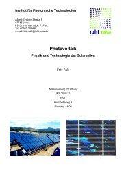 Photovoltaik Physik und Technologie der Solarzellen - IPHT Jena