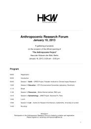 Anthropocenic Research Forum January 10, 2013 - Haus der ...
