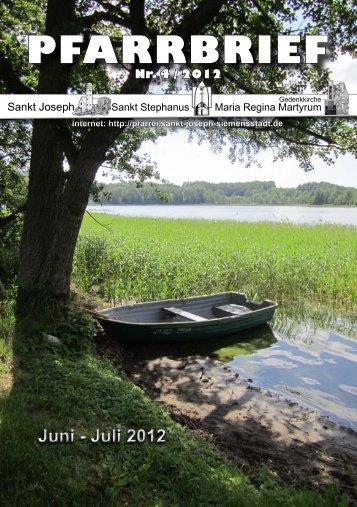Juni - Juli 2012 PFARRBRIEF - St. Joseph, Siemensstadt