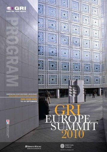 GRI EuROPE SuMMIT 2010 - Global Real Estate Institute