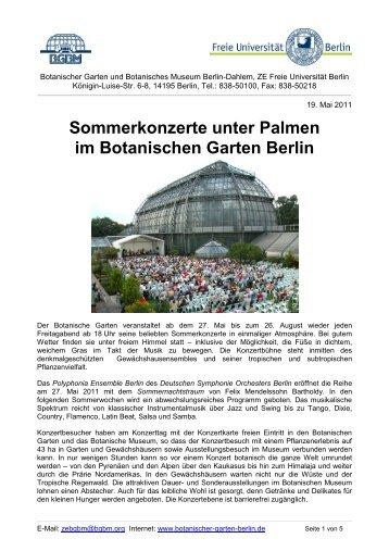 Sommerkonzerte unter Palmen im Botanischen Garten Berlin