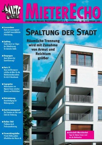 MieterEcho Nr. 332 - Februar 2009 - Berliner MieterGemeinschaft eV