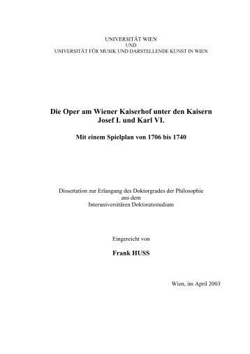 Die Oper am Wiener Kaiserhof unter den Kaisern Josef I. und Karl VI.