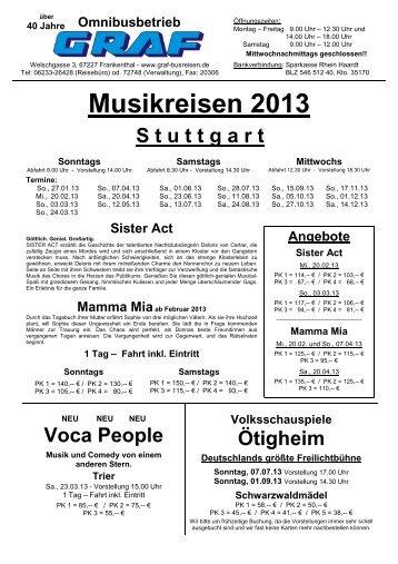 Musikreisen 2013 zum download - Graf Busreisen Frankenthal
