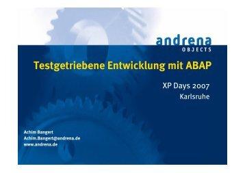 Testgetriebene Entwicklung mit ABAP - XP day Germany