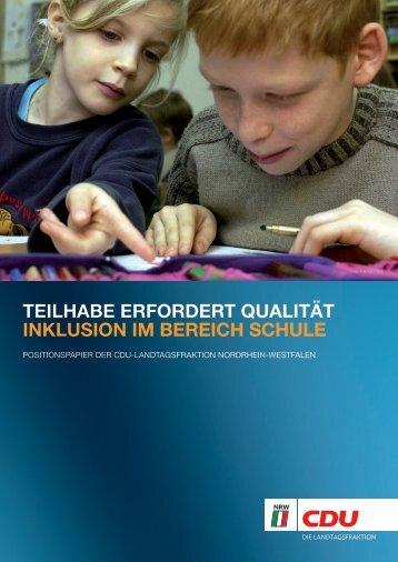 Teilhabe erfordert Qualität - Inklusion im Bereich Schule - CDU ...