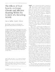 The Effects of Tool Scarcity on Group Climate and Affective Meaning ...