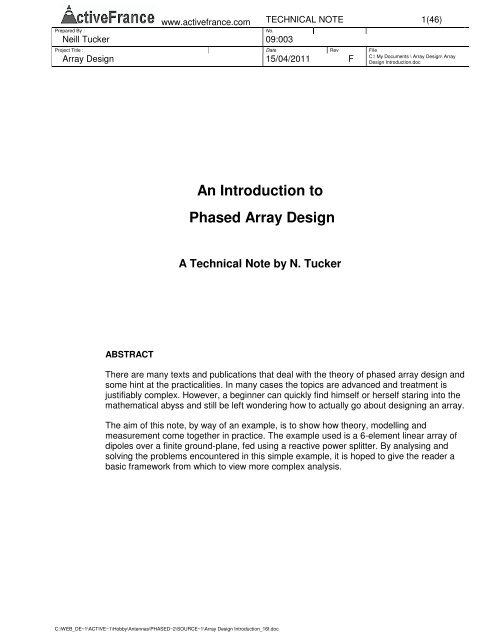 An Introduction to Phased Array Design - Webmaster : N  Tucker
