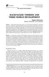 backpacker tourism and third world development - Colorado Mesa ...