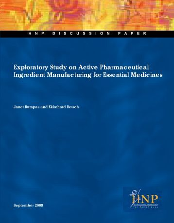 Exploratory Study on Active Pharmaceutical Ingredient ... - Unido
