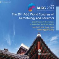 The 20th IAGG World Congress of Gerontology and ... - IAGG 2013
