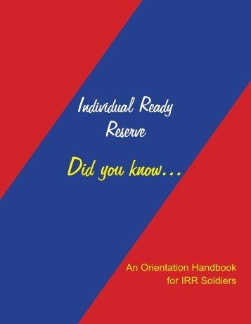 Orientation Handbook for IRR Soldiers - United States Army Japan ...