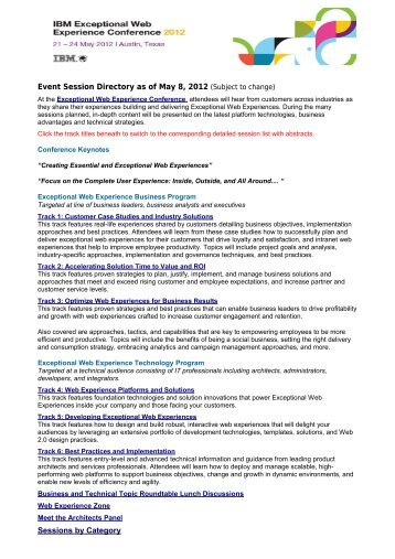 2012 Exceptional Web Experience - Americas Directory - IBM