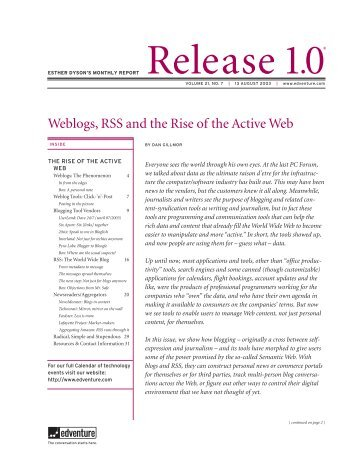Weblogs, RSS and the Rise of the Active Web - Harnessing the Hive ...