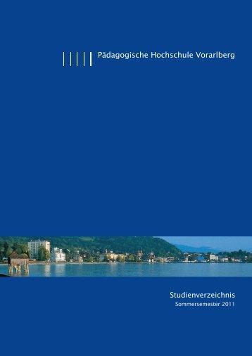 Pädagogische Hochschule Vorarlberg Studienverzeichnis