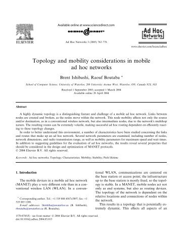 Topology and mobility considerations in mobile ad hoc networks