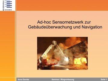 Ad-hoc Sensornetzwerk zur Gebäudeüberwachung und Navigation