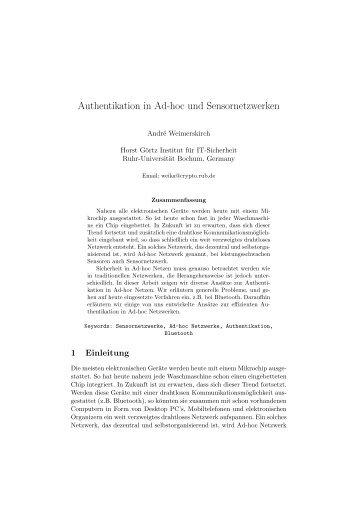 Authentikation in Ad-hoc und Sensornetzwerken
