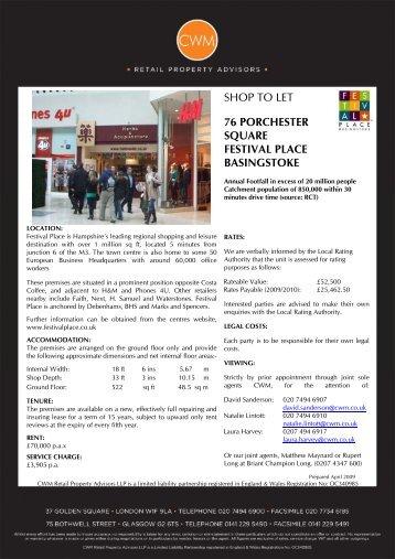 76 porchester square festival place basingstoke - Shops to Let on ...