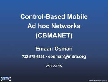 Control-Based Mobile Ad hoc Networks (CBMANET) - Mitre