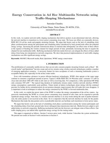 Energy Conservation in Ad Hoc Multimedia Networks using Traffic ...