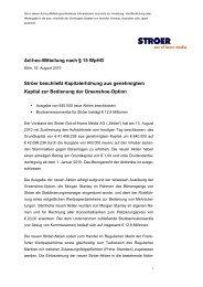 Ad-hoc-Mitteilung nach § 15 WpHG Ströer beschließt ...