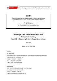 Studie Auszüge des Abschlussberichts: - Stadt Köln