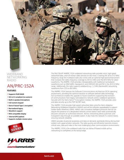 AN/PRC-152A Wideband Networking Radio Datasheet - Harris RF