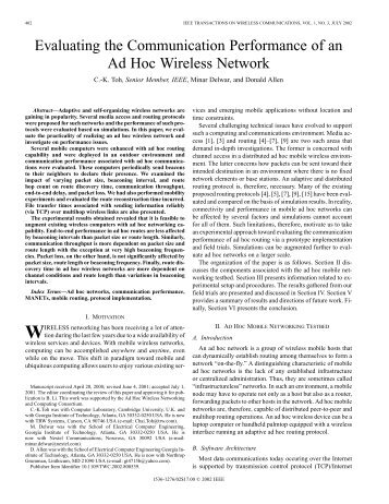 Evaluating the Communication Performance of an Ad Hoc Wireless ...