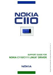 support guide for nokia c110/c111 linux® driver