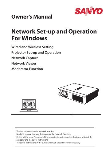 Network Set-up and Operation for Windows [PLC-WXU700A] - Sanyo