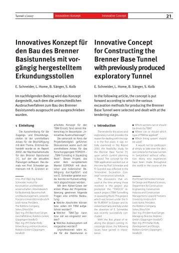 Innovatives Konzept für den Bau des Brenner ... - SSP BauConsult