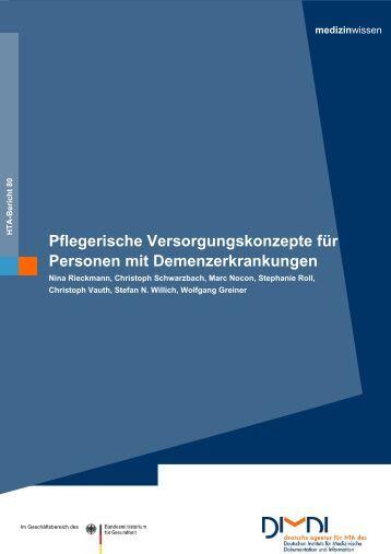 Pflegerische Versorgungskonzepte für Personen mit ... - DIMDI